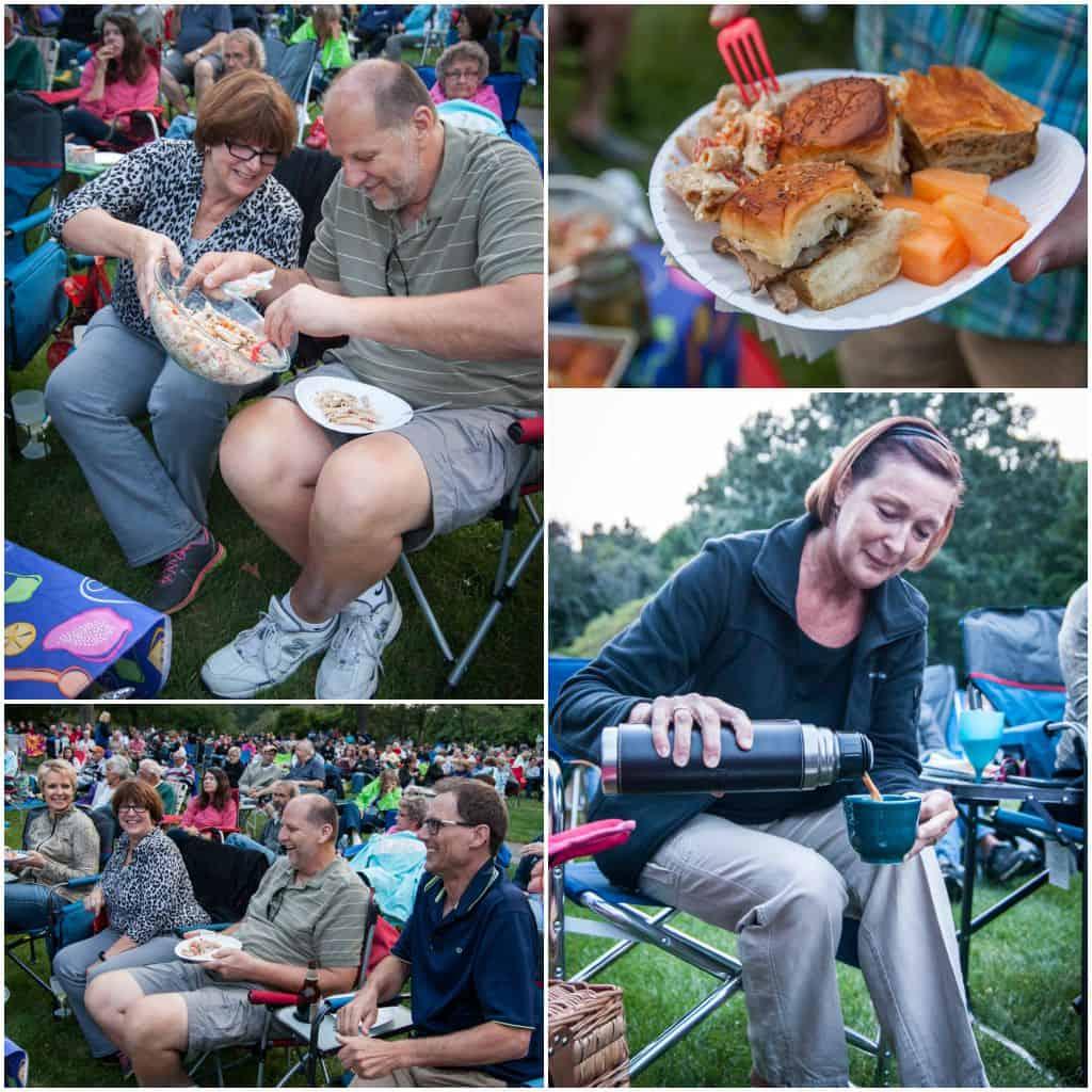 Outdoor concert picnic spread