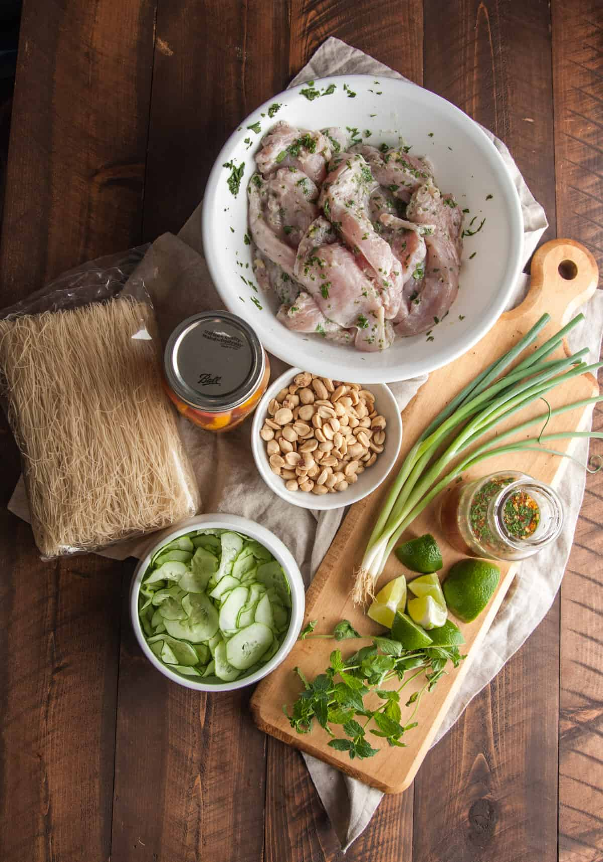 Vietnamese chicken rice noodle salad ingredients from @sweetphi