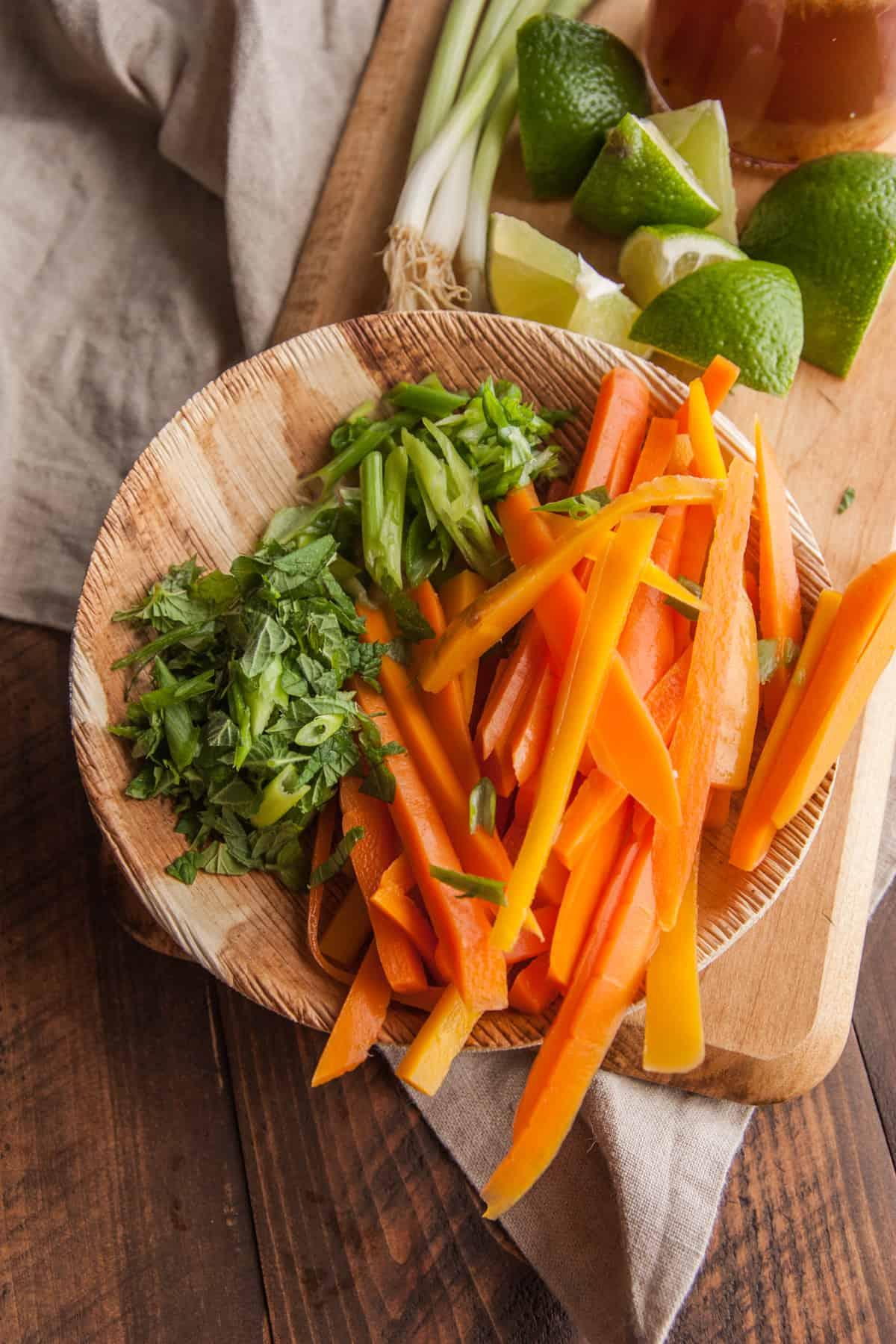Sliced carrots for a Vietnamese chicken rice noodle salad from @sweetphi