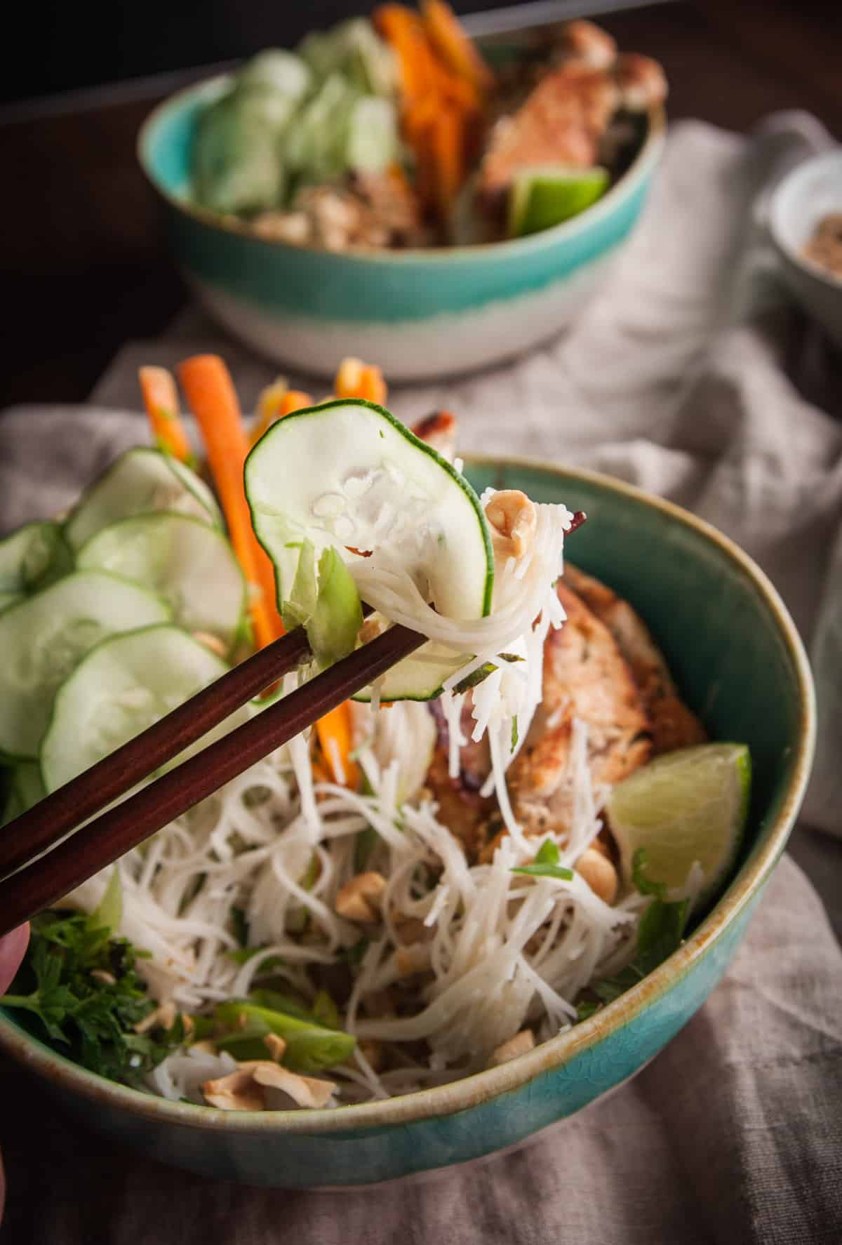 Vietnamese chicken rice noodle salad from @sweetphi