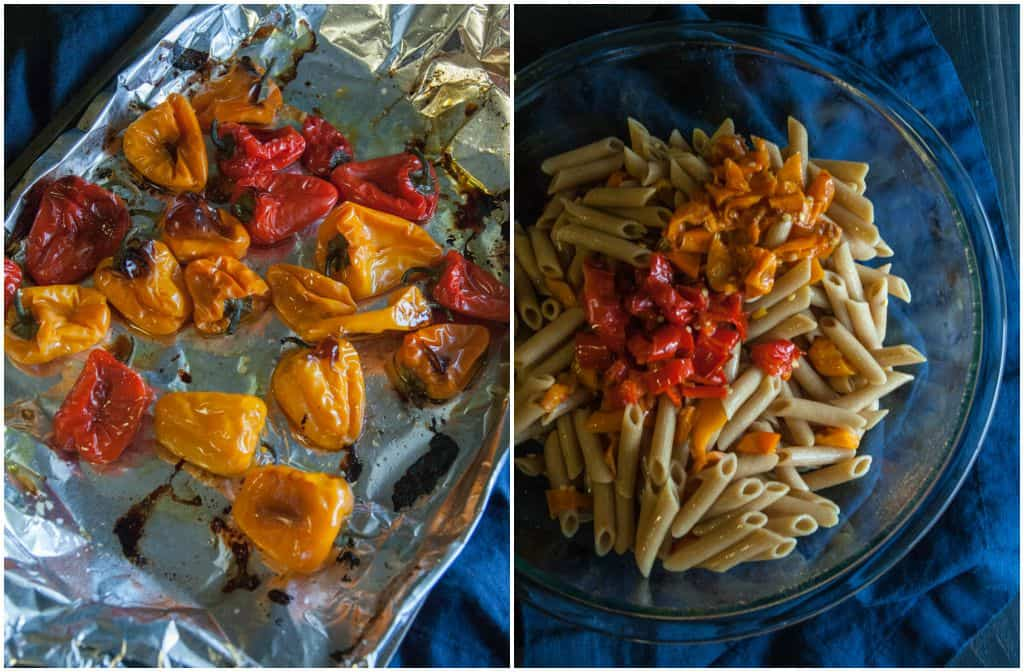 Whole wheat pasta salad with roasted peppers and yogurt dressing