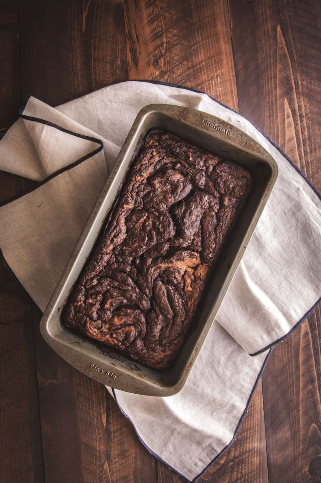 Zucchini banana nutella swirl loaf recipe from @sweetphi