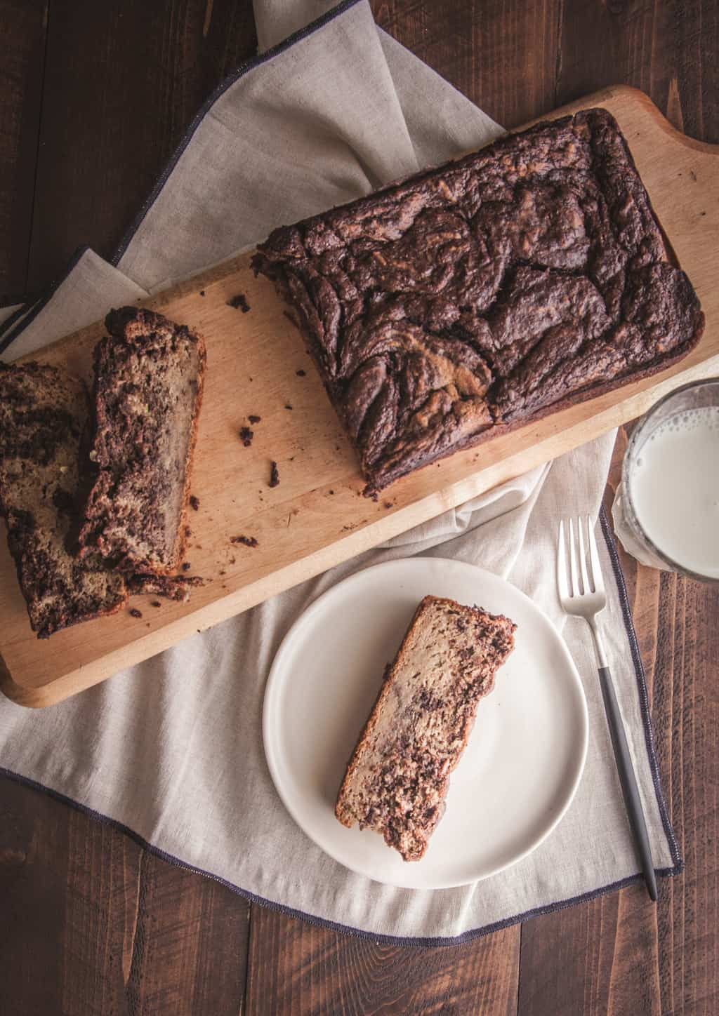 Zucchini banana nutella swirl loaf from @sweetphi