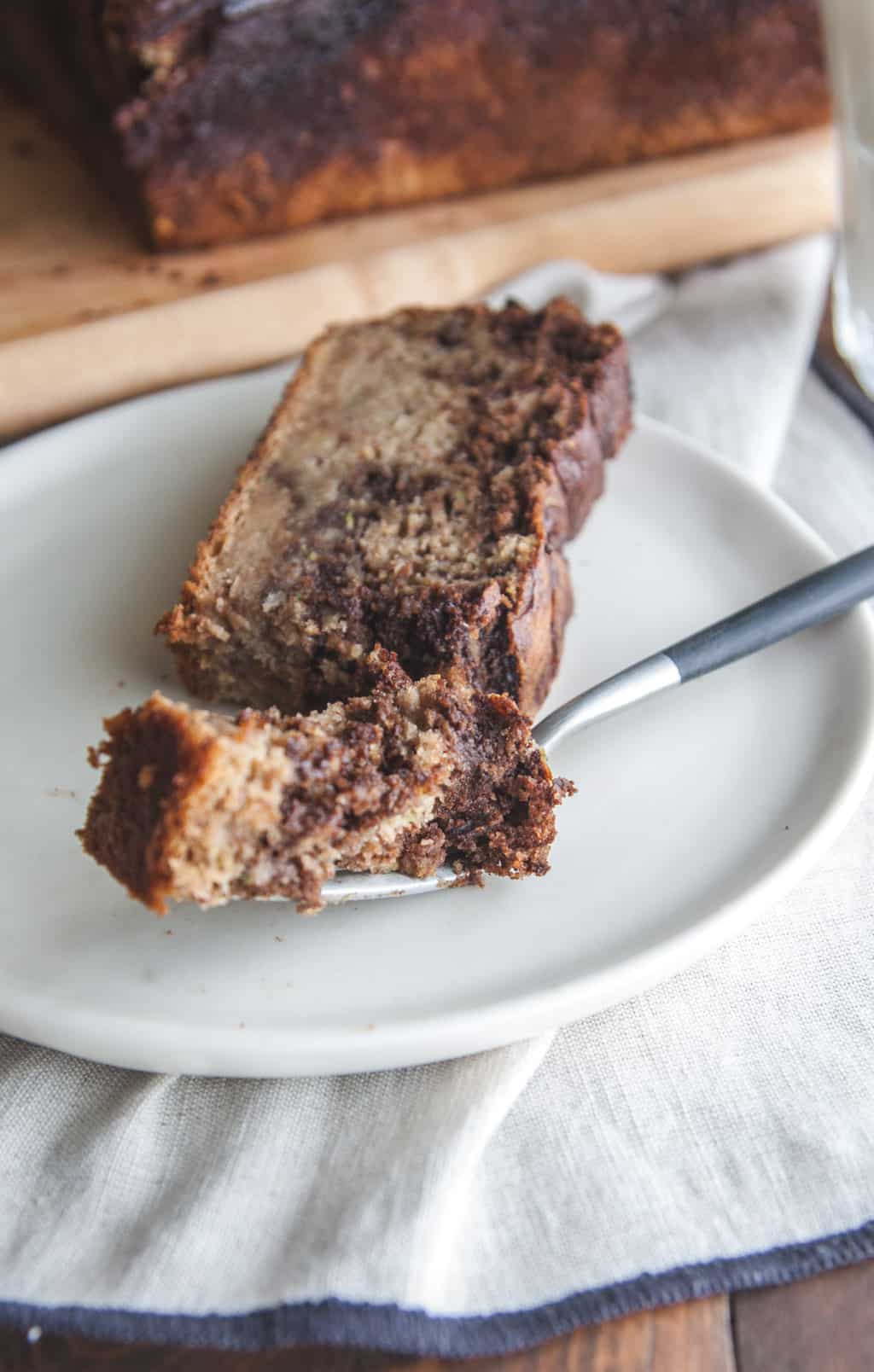 Zucchini banana chocolate loaf from @sweetphi