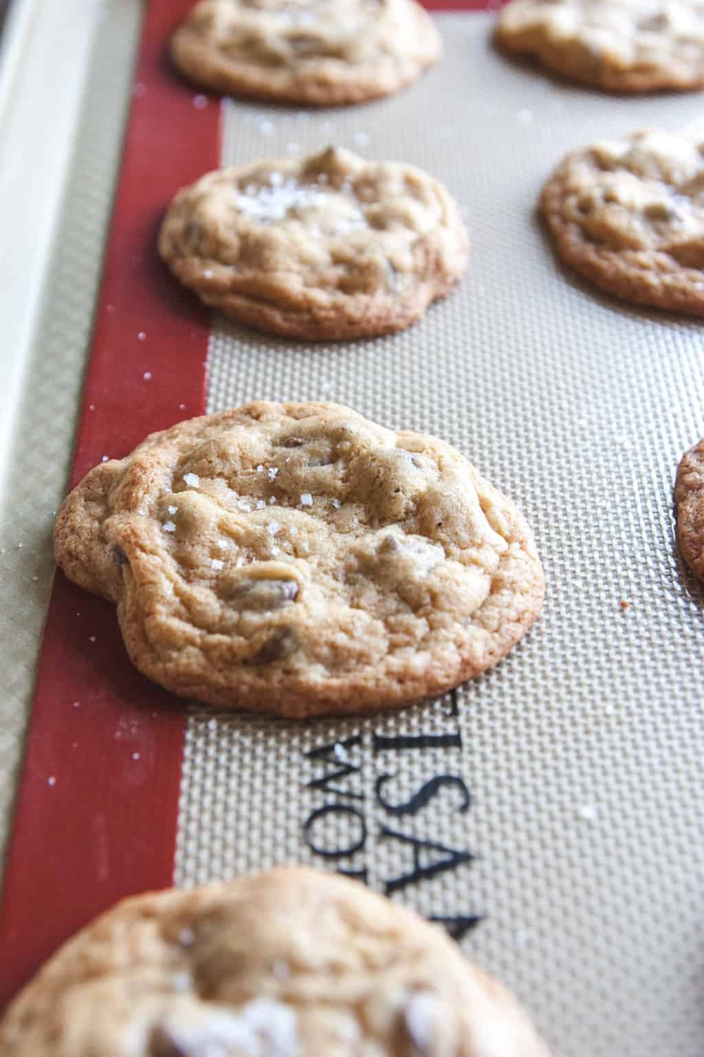 Salted caramel chocolate chip cookies recipe from @sweetphi