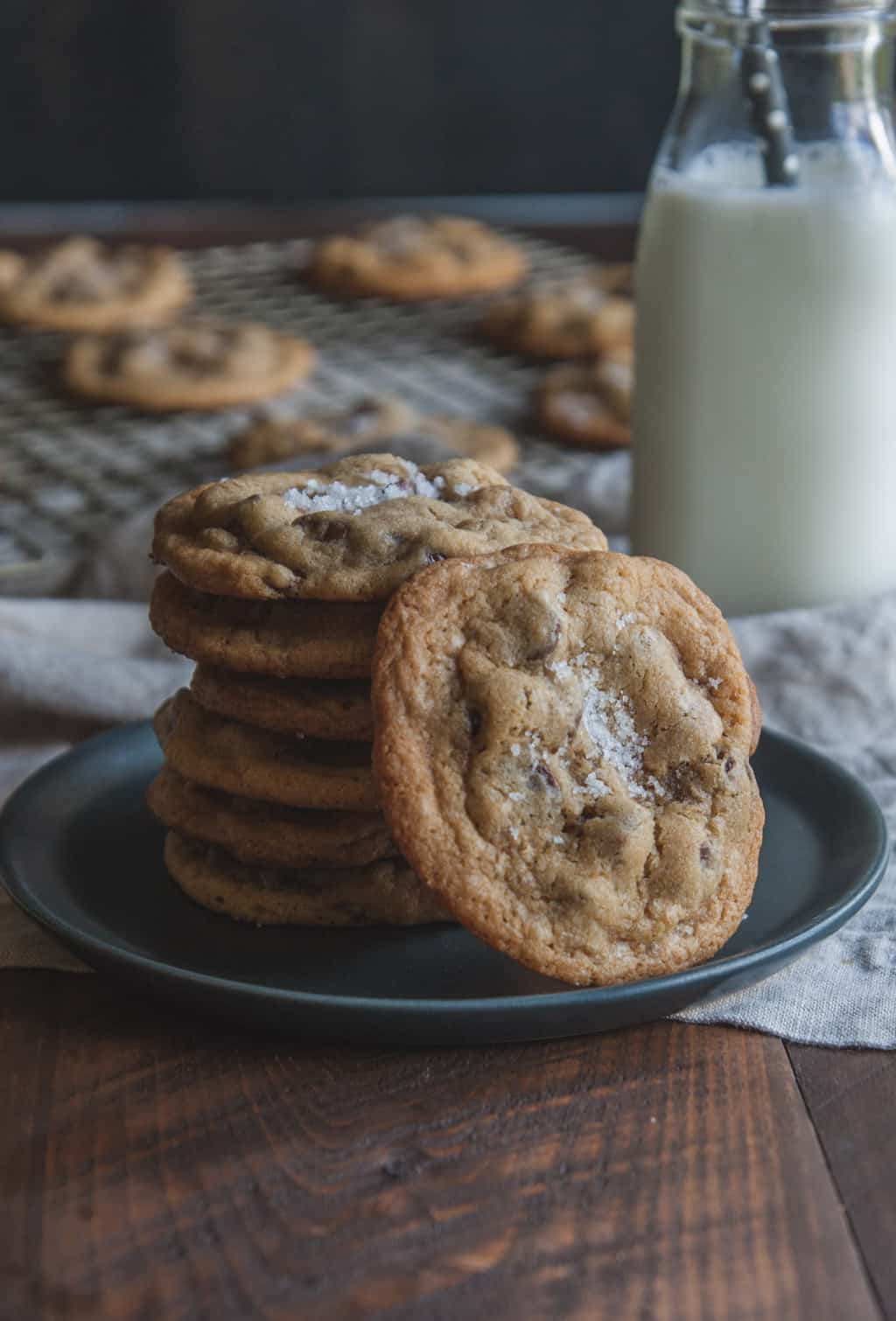 The best salted caramel chocolate chip cookies from @sweetphi