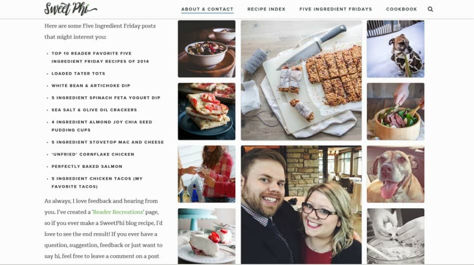 Food blogger about page