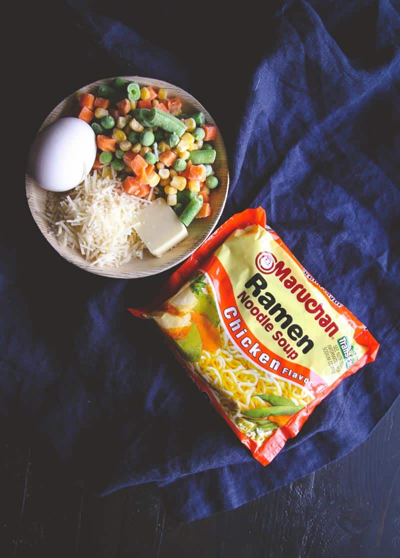 5 ingredient ramen with an egg dinner ingredients from @sweetphi
