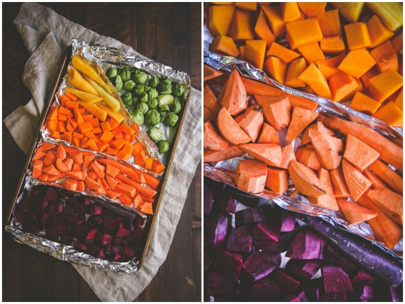 Roasted winter vegetables for winter rainbow salad from @sweetphi