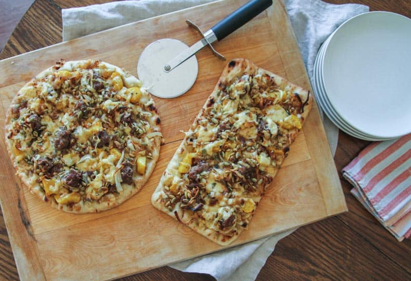 Winter Vegetable and Sausage Pizza from @sweetphi