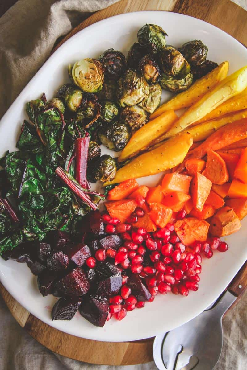 Roasted winter vegetable rainbow salad from @sweetphi