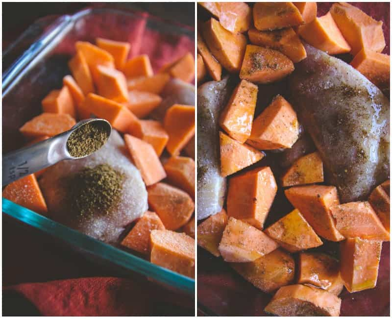 5 Ingredient baked chicken and sweet potato recipe from @sweetphi