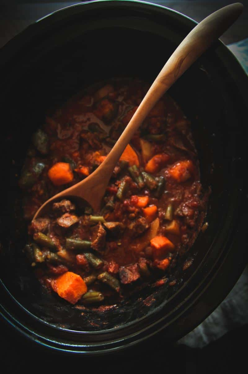 Slow cooker beef and sweet potato stew from @sweetphi