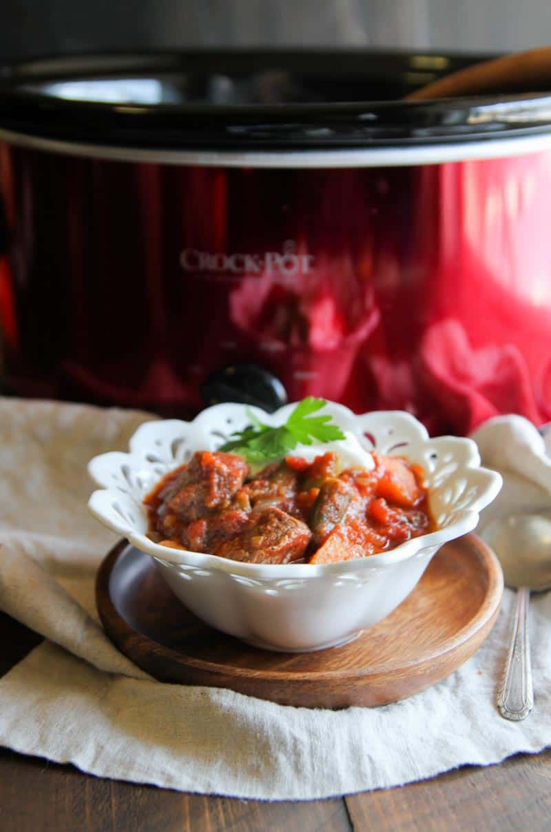 Crockpot beef and sweet potato stew from @sweetphi