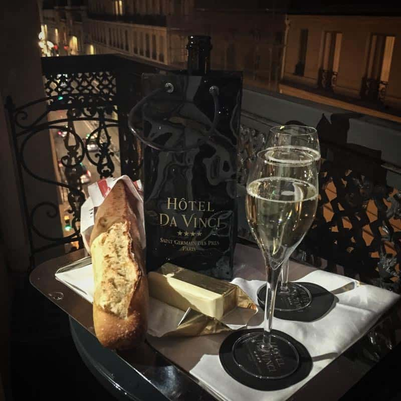 Prosecco on the balcony of the Hotel Da Vinci in Paris
