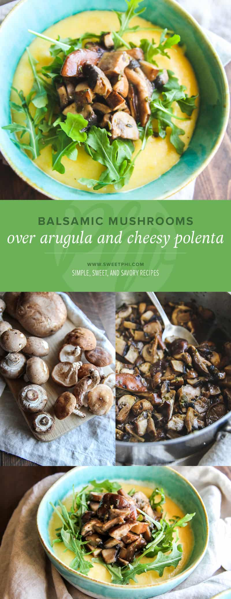 Balsamic mushrooms over arugula and cheesy polenta - a great meatless Monday gluten free dinner from @sweetphi