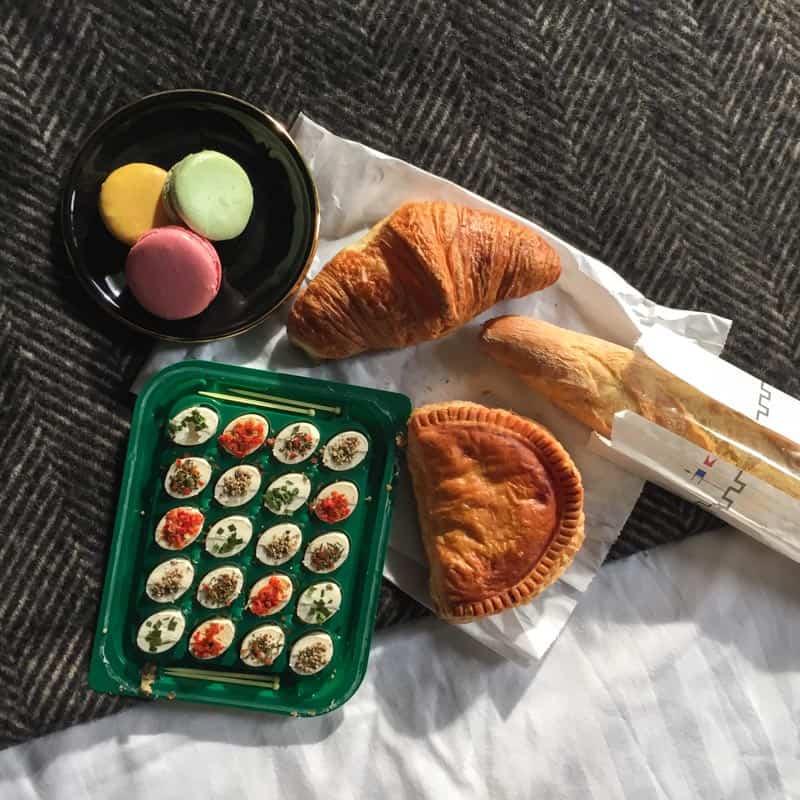 Breakfast in bed at the Hotel Eugene En Ville in Paris
