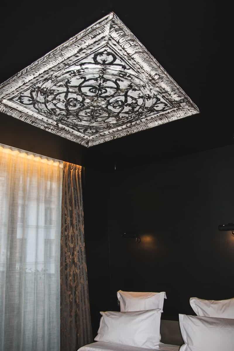 Ceiling artwork at the Hotel Eugene En Ville Paris