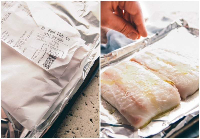5 ingredient baked halibut from @sweetphi