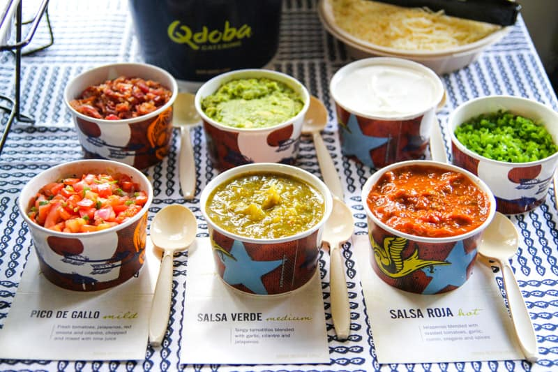 Salsas for an easy Cinco de Mayo Fiesta catered by Qdoba -on the @sweepthi blog