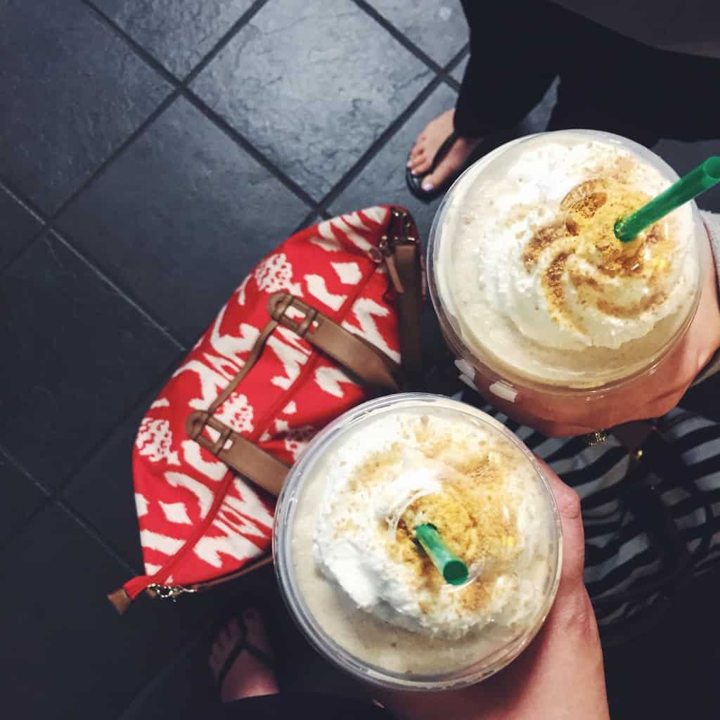 Travel bag and Starbucks s'mores frappachinos