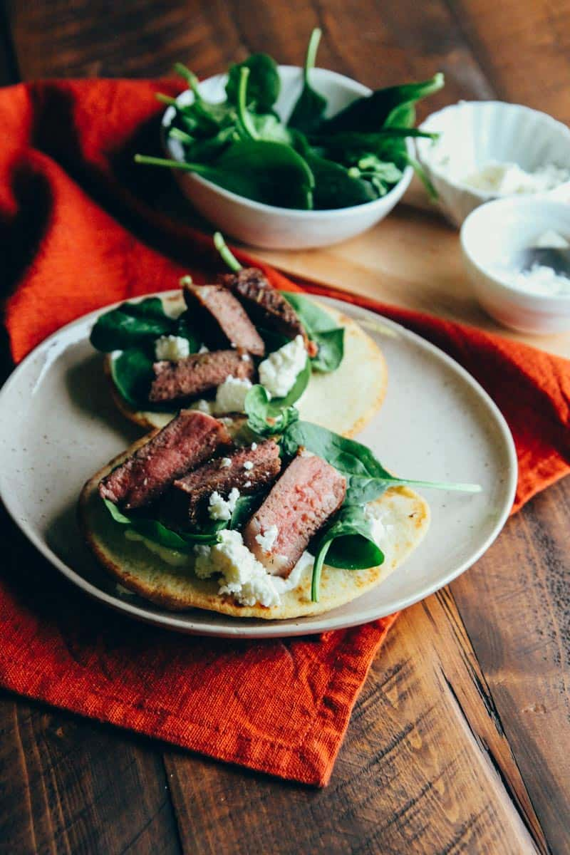 Lamb chop pitas with yogurt spinach and feta from @sweetphi