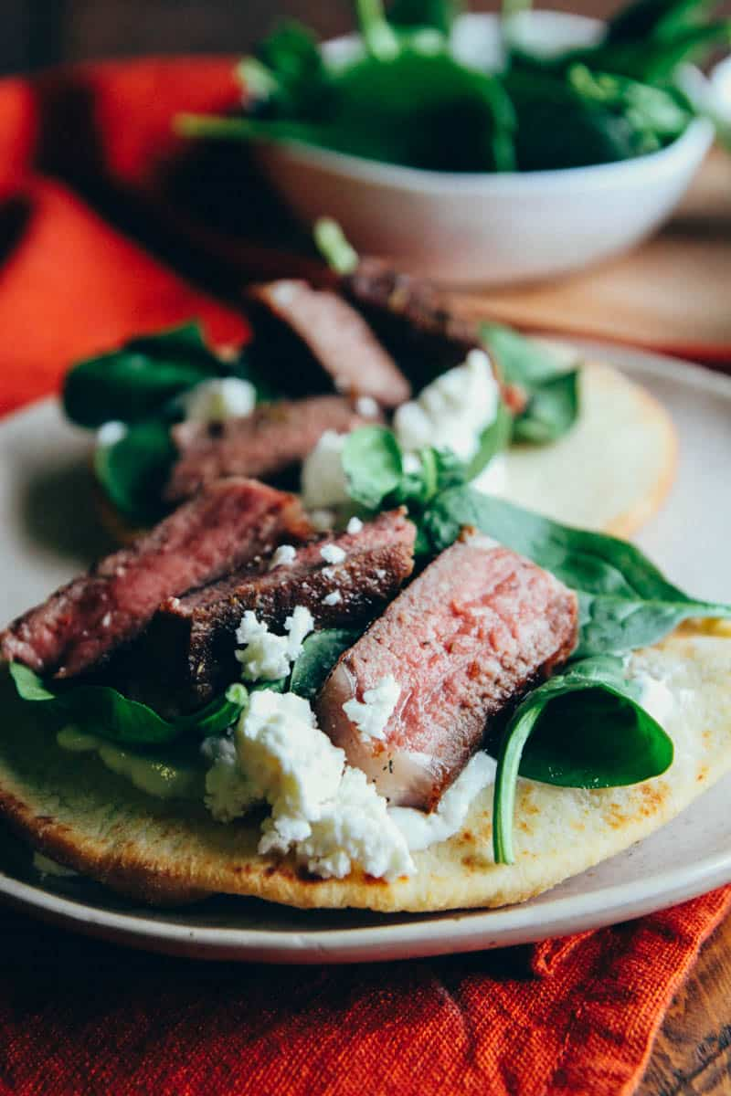 Lamb pitas with feta yogurt and spinach - perfect for a 20 minute dinner from @sweepthi
