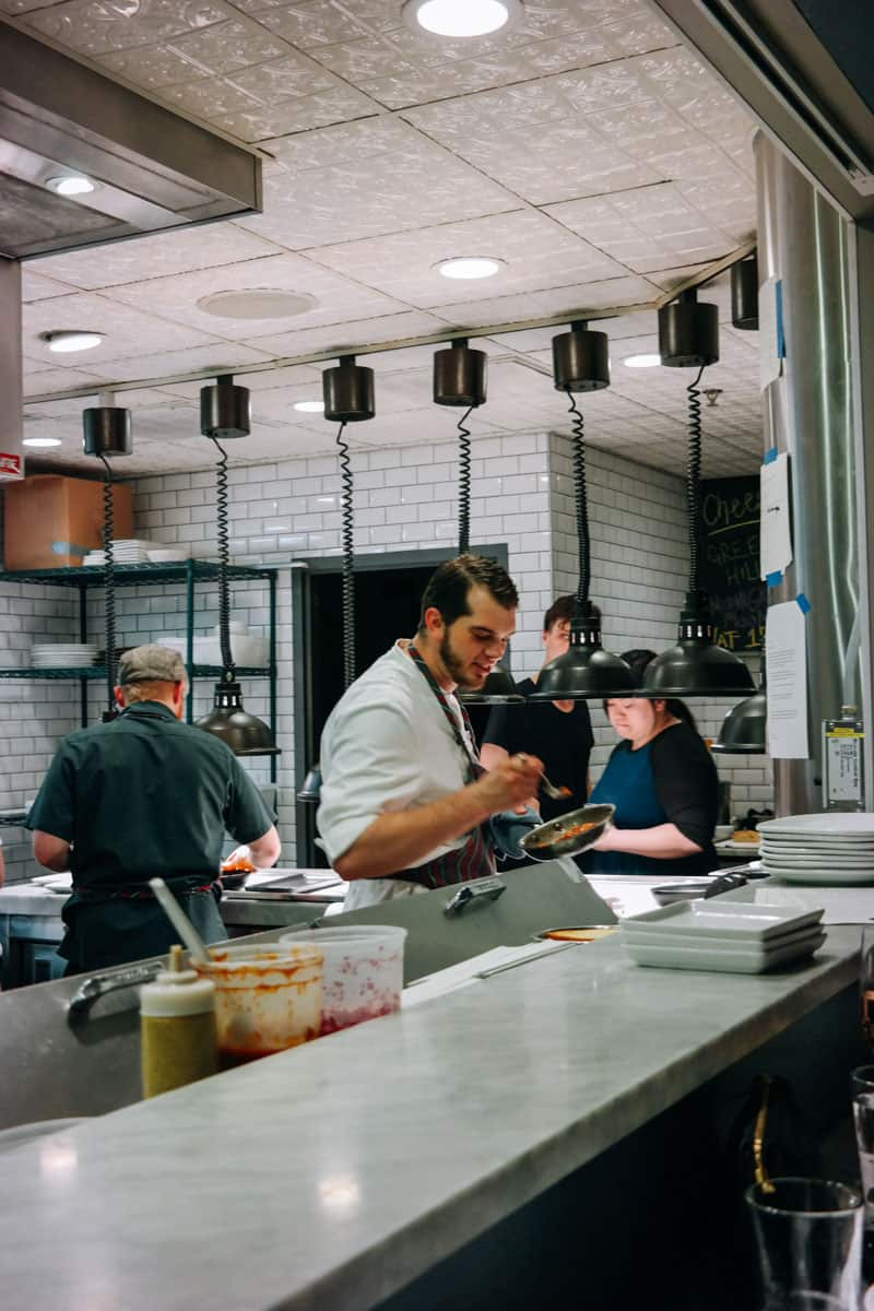 Inside the kitchen at The Borough Minneapolis