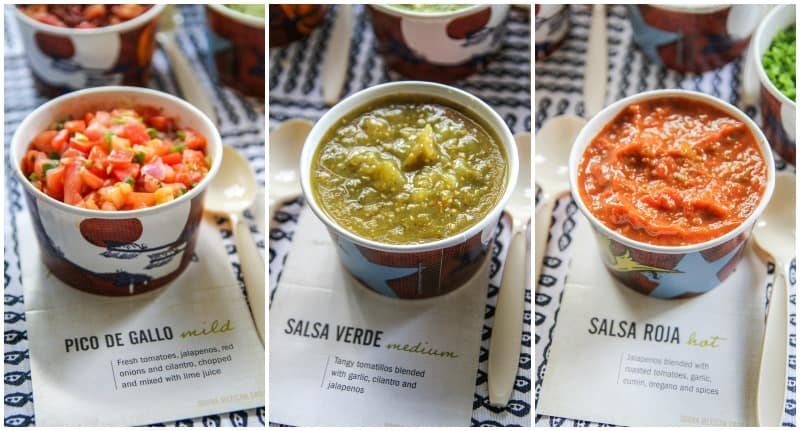 Salsas from Qdoba catering for an easy Cinco de Mayo party on the @sweetphi blog