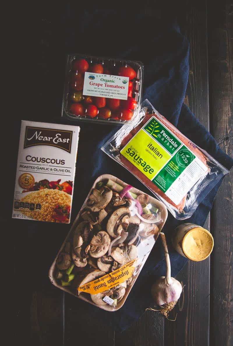 Turkey sausage couscous bowls ingredients @sweetphi