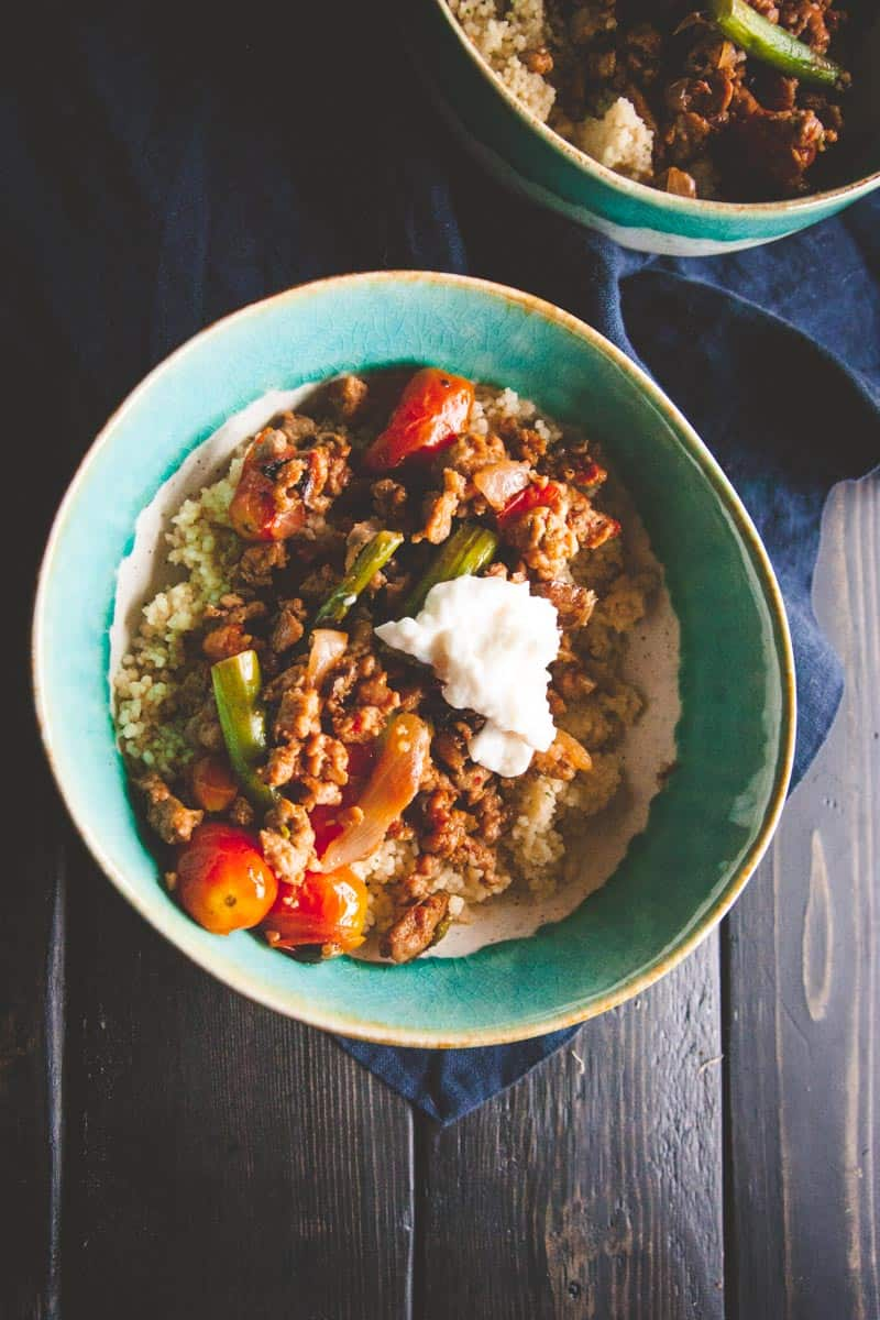 20 minute dinner - Italian turkey sausage couscous bowls from @sweepthi