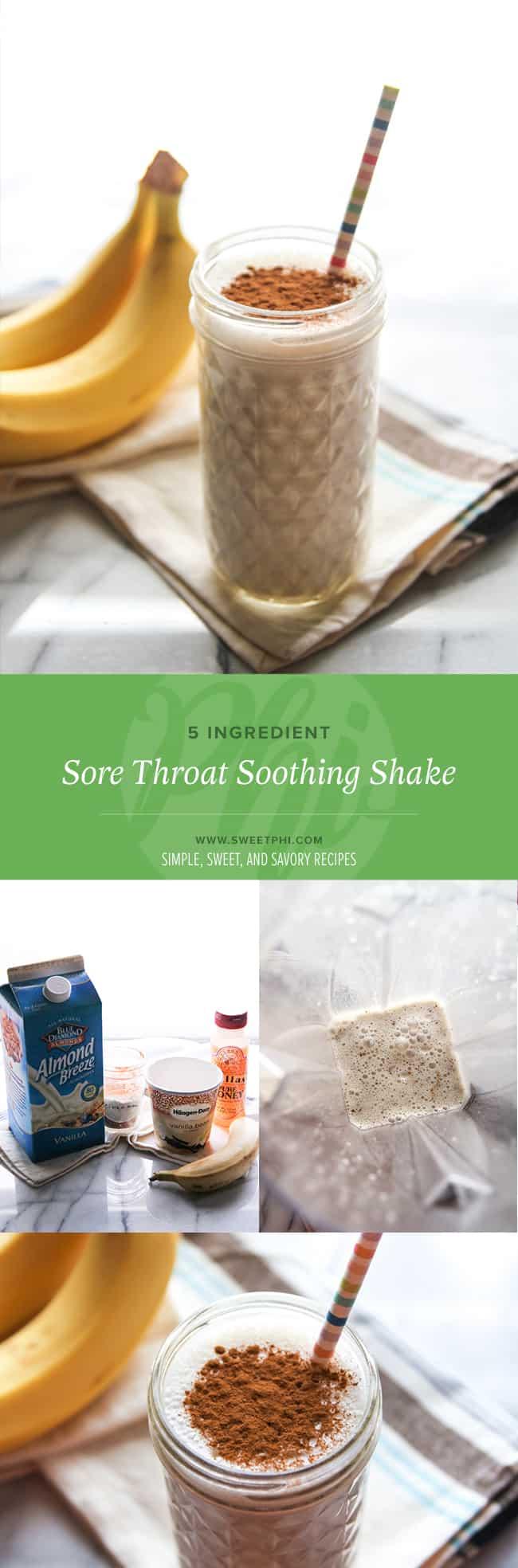 5 ingredient sore throat soothing shake - smoothie from @sweetphi