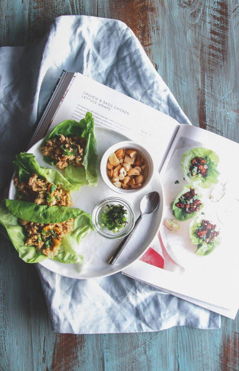 Cashew chicken and basil lettuce wraps on @sweetphi