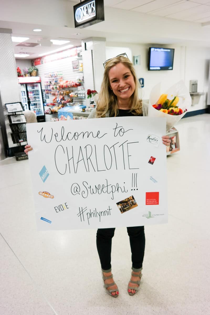 Charlotte girls trip - Lynn from Order in the Kitchen picking up @Sweetphi at the airport