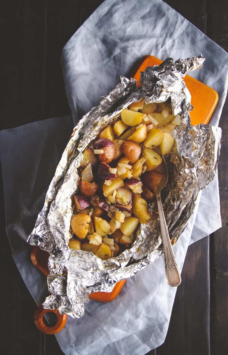 Grilled breakfast potato packet perfect for camping from @sweetphi