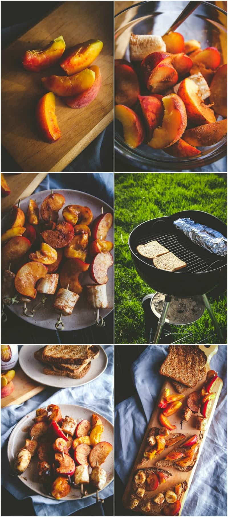 Grilled fruit and almond butter toasts - grilled brunch from @sweetphi