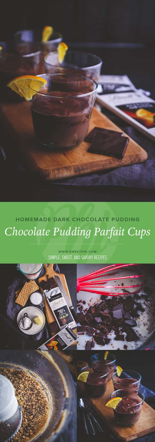 Chocolate pudding parfait cups from @sweetphi - homemade dark chocolate pudding and the perfect summer dessert for family picnics