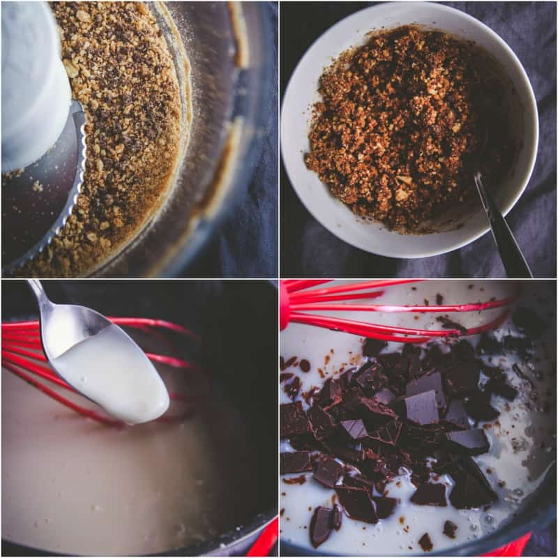 Making chocolate parfait cups with a graham cracker crumb layers from @sweepthi