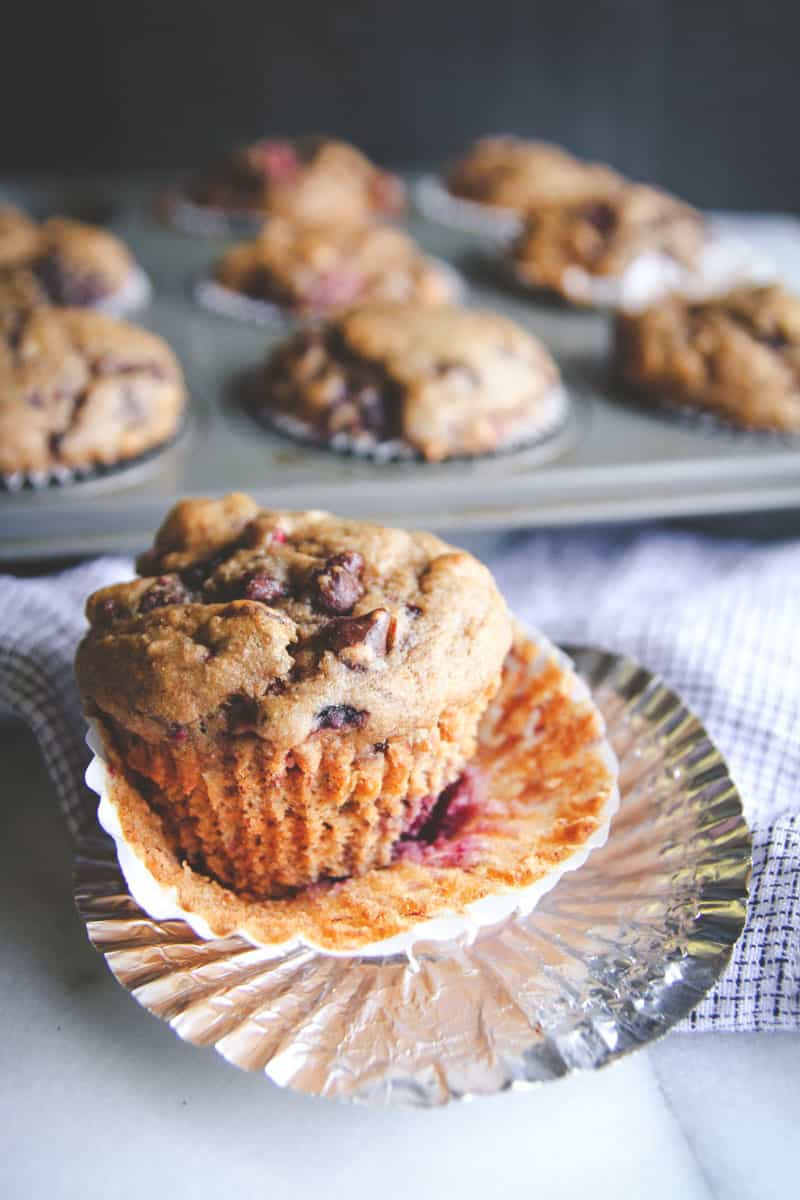 Skinny banana berry chocolate chip muffins from @sweetphi