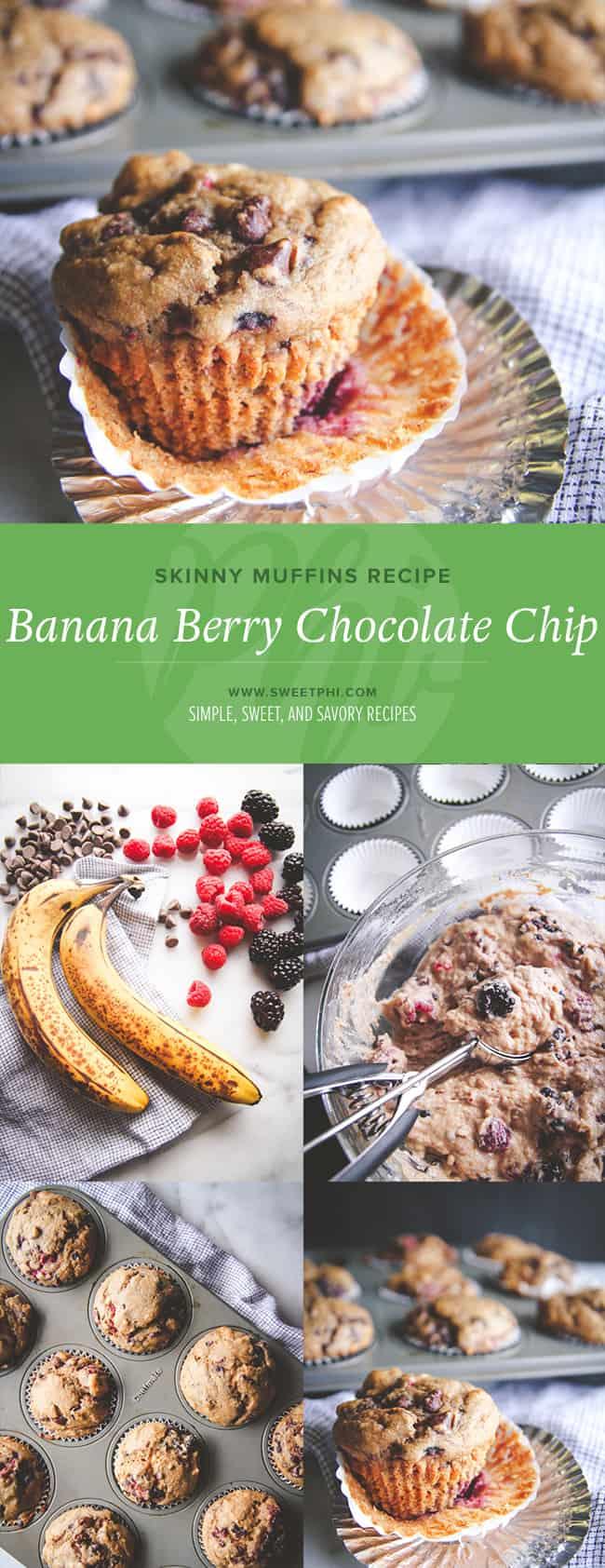 Skinny muffins recipe - skinny banana berry chocolate chip muffins from @sweetphi