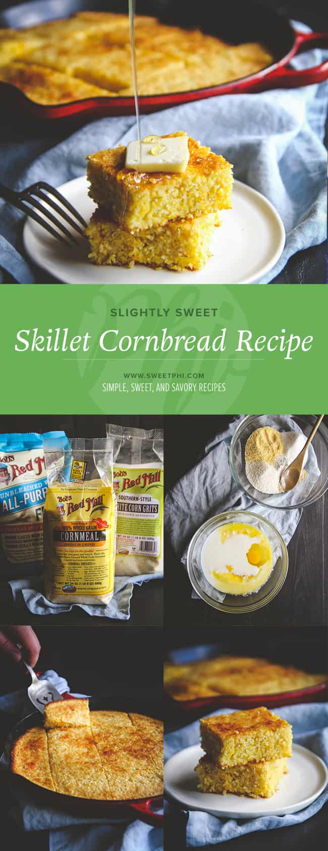 Slightly sweet skillet cornbread recipe from @sweepthi