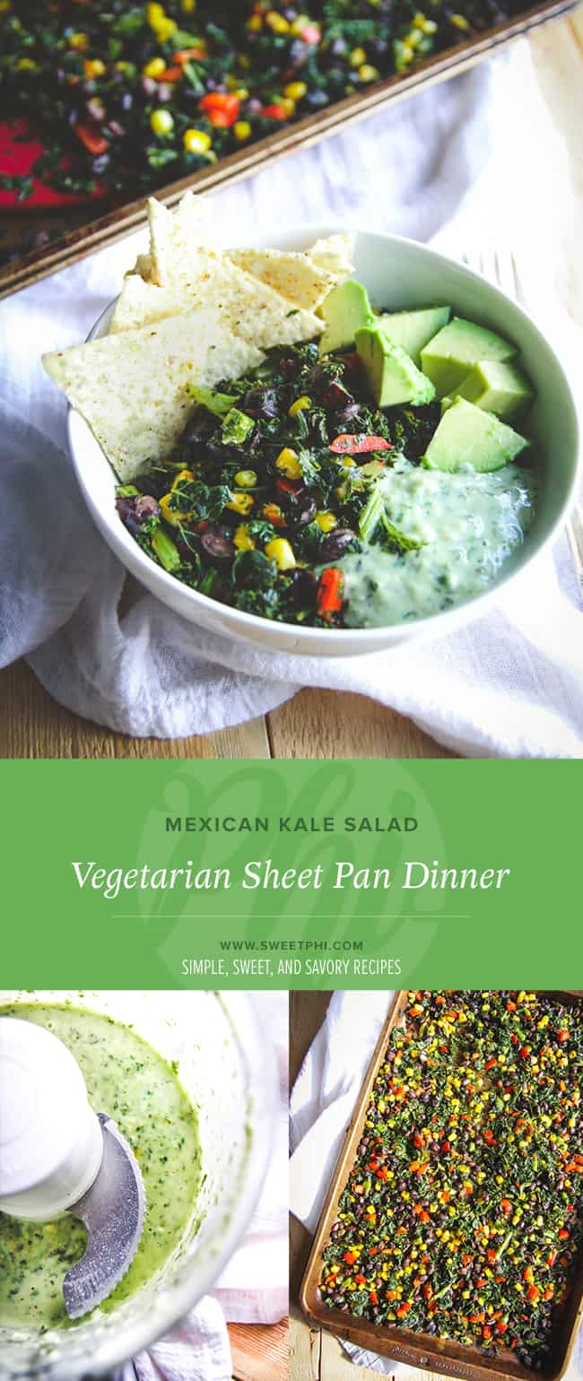 Vegetarian sheet pan dinner Mexican kale salad from @sweepthi