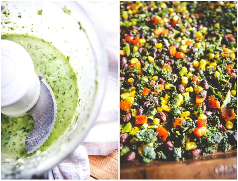 Vegetarian sheet pan supper Mexican kale salad form @sweetphi