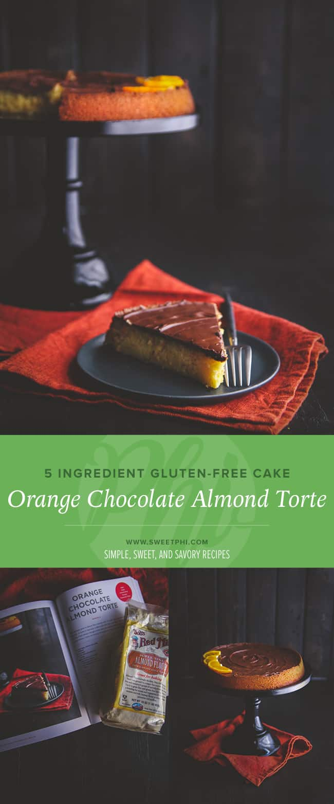 5 ingredient gluten free cake - orange chocolate almond cake from @Sweetphi