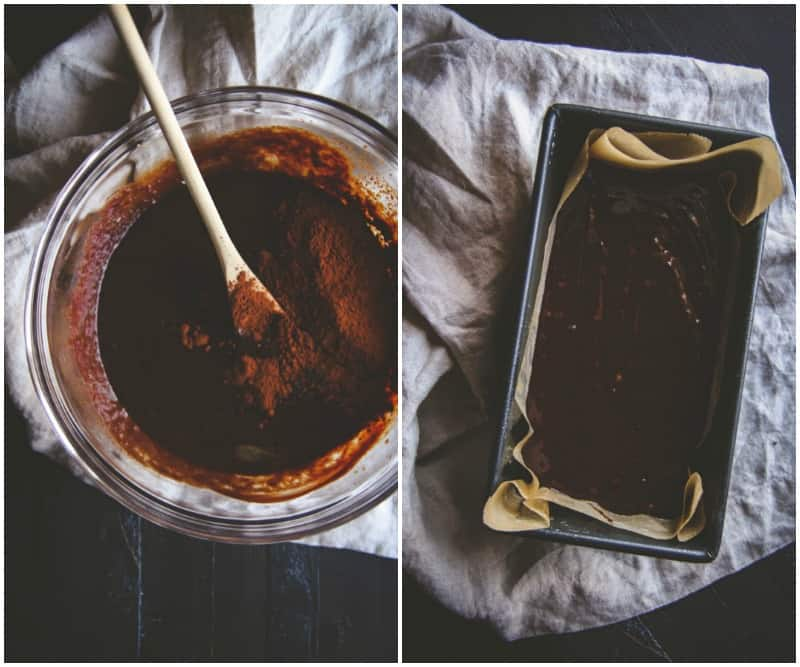 Making a double chocolate loaf cake from @Sweetphi