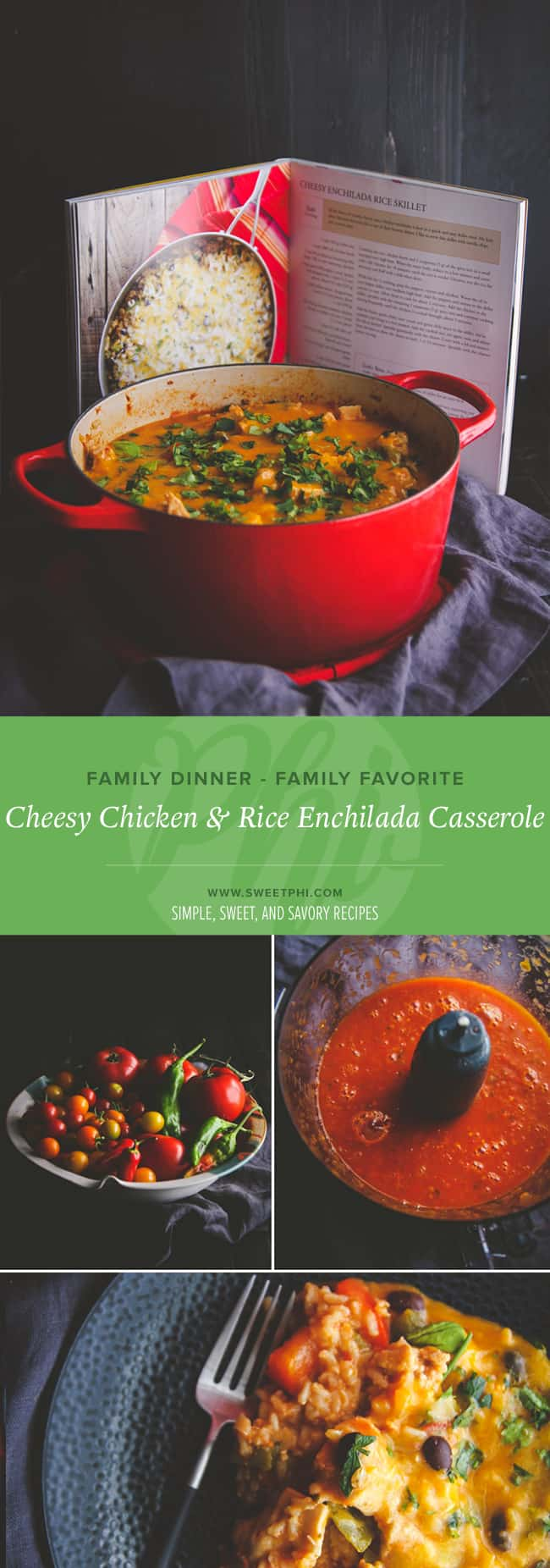 Family meal favorite - cheesy chicken and rice enchilada casserole