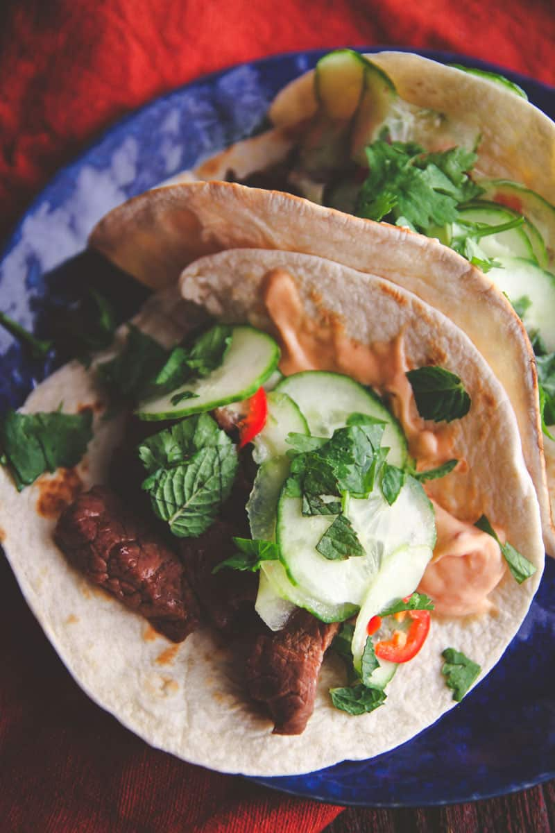Korean BBQ beef tacos with quick pickled cucumbers @Sweetphi