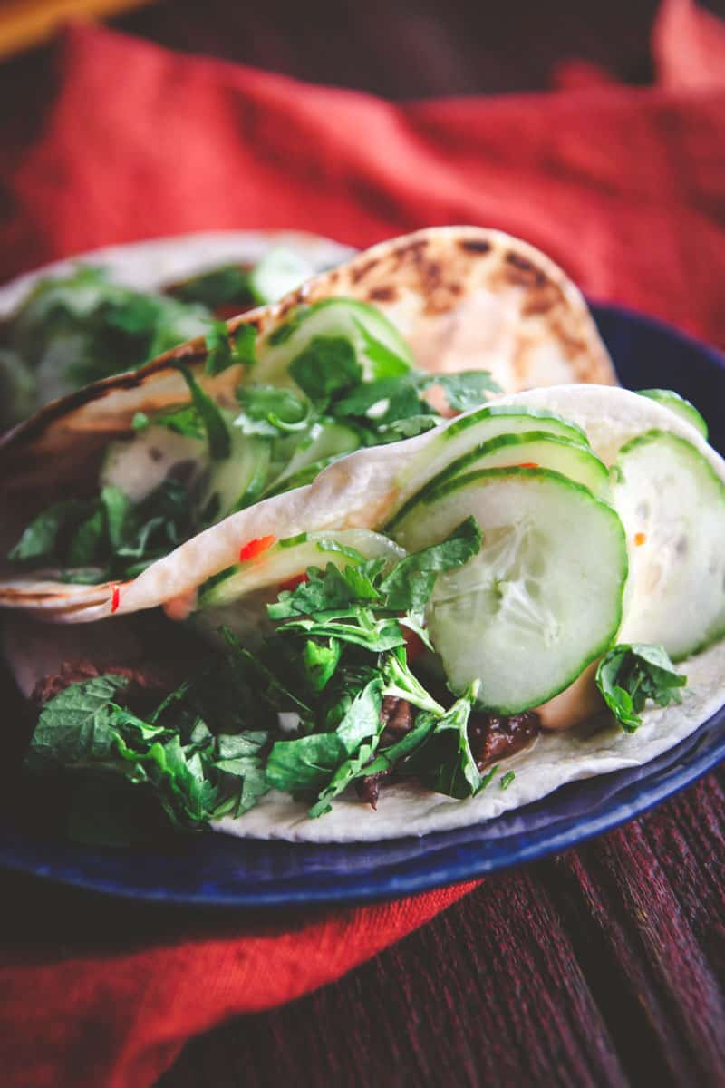 Korean BBQ beef tacos with quick pickled cucumbers