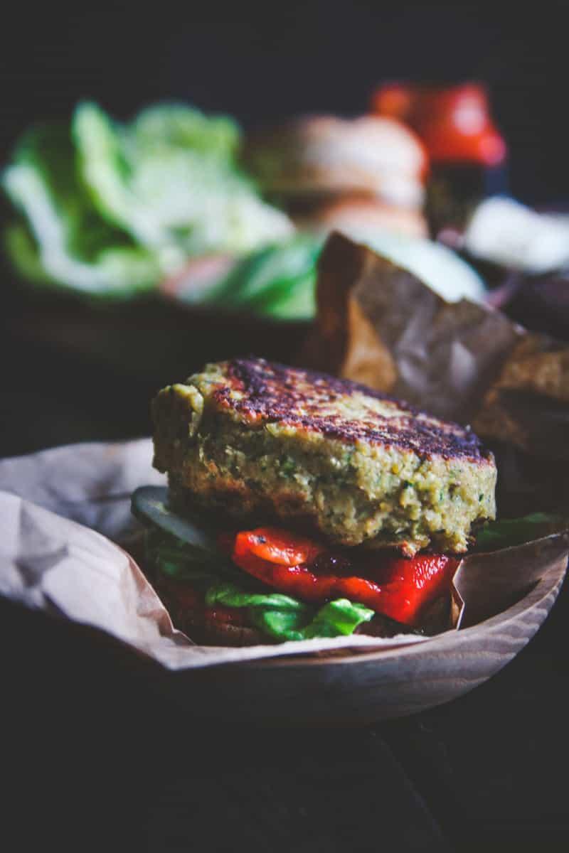 Chickpea and zucchini veggie burgers from @SweetPhi
