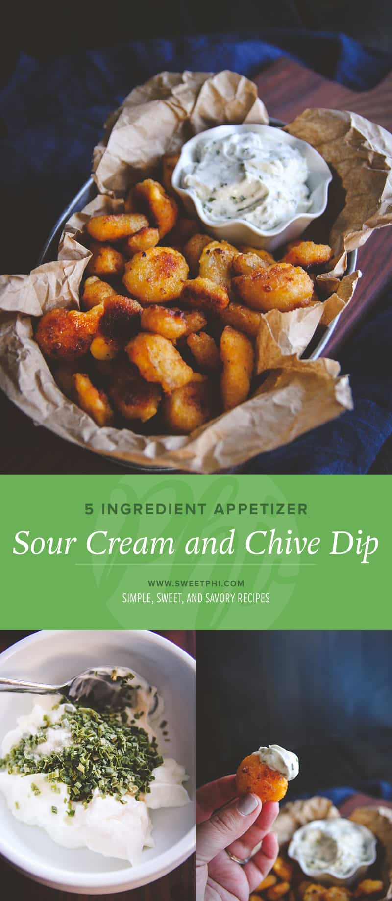 5 ingredient sour cream and chive dip for baked cheese curds. A super easy no bake, make ahead appetizer from @Sweepthi